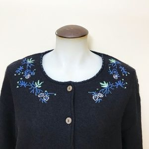 Navy April Cornell Wool Cardigan With Embroidery